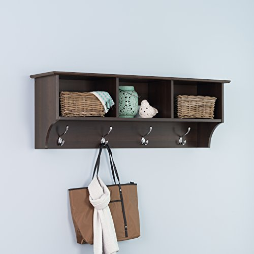 Prepac Entryway Cubbie Shelf, Espresso - Coat Rack Wall Mount