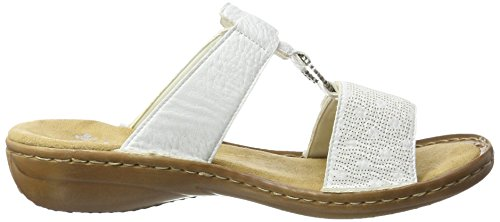 Rieker 60885, Mules para Mujer Blanco (Weiss / 80)