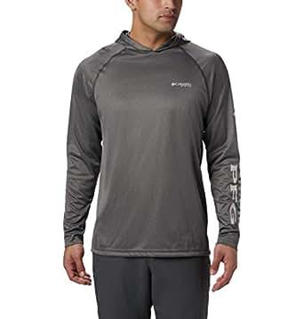 Columbia Men's PFG Terminal Tackle Heather Hoodie,Charcoal Heather, Cool Grey Logo,Small