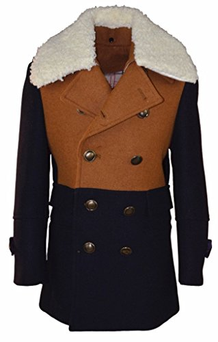 Isaac Mizrahi Boy's CT1012 Two Toned Double Breasted Coat - Tan - 4
