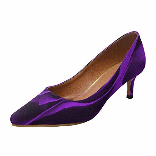 Multi Low 1 Shoes Dress Pump Purple Womens Heel Kitten Toe InterestPrint Rose Pointed Background q7g4Zpw