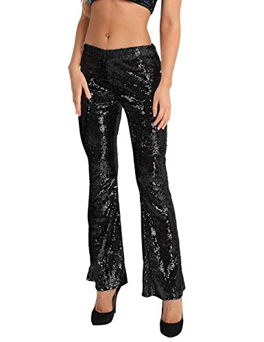Alvivi Women's Glitter Sequin High Waist Stretchy Bell Bottom Palazzo Flared Pants Trousers Black Medium ()
