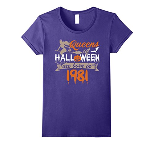 Womens Queens Of Halloween Born In 1981 T-shirt Happy 36th Birthday Large Purple