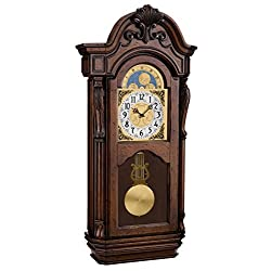 Bulova C1515 Tamlen Chiming Wall Clock, 28.5, Dark Cherry Brown