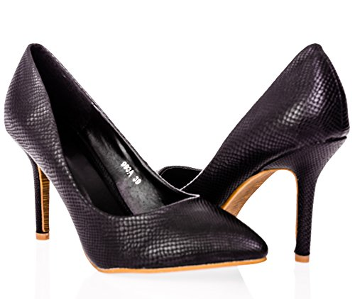 Ça Va Bien Fashion Pointed Closed-Toe Pumps Slip-On Stiletto Shoes In Size 6 Black