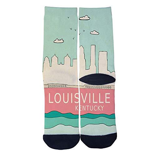 Mens Womens Casual Louisville Kentucky Modern Travel City Poster Socks Crazy Custom Socks Creative Crew Socks Black -
