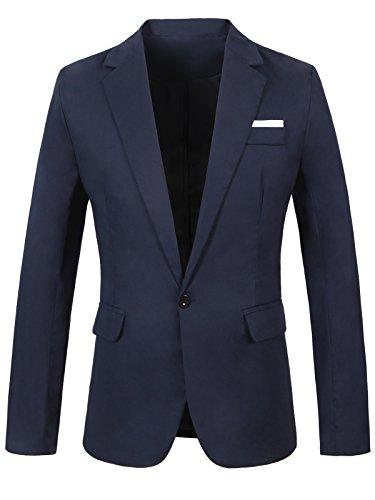 GARSEBO Men's Casual Dress Suit Slim Fit Stylish Blazer Coats Jackets (Dress Coat Blue Men)