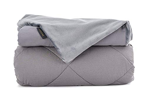 Cheap LUXOME Cool & Cozy Adult Weighted Blanket for with Removable Bamboo/Minky Cover | 18lbs | Queen Size | 60