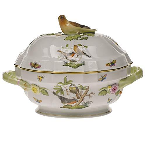 Herend Rothschild Bird Porcelain Tureen With Bird Handle
