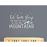 Wall Decal Kids Let Him Sleep for When He Wakes He Will Move Mountains Quote Wall Decals Nursery Stars Wall Decal Vinyl Wall Stickers for Baby Boy Kids(Y25)(Small, White)