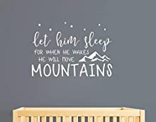 Wall Decal Kids Let Him Sleep for When He Wakes He Will Move Mountains Quote Wall Decals Nursery Stars Wall Decal Vinyl Wall Stickers for Baby Boy Kids Y25 (Small, White)