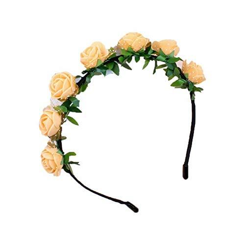 9 Color Artificial Rose Flower Wreath Crown Green Leaves Mesh Hair Hoop Headband (Color - Orange) (Rectangle Hoop Tube)