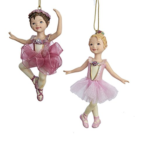 Girl 2 Ornament - Kurt Adler 4.25-Inch Ballet Girl Christmas Ornaments 2 Assorted