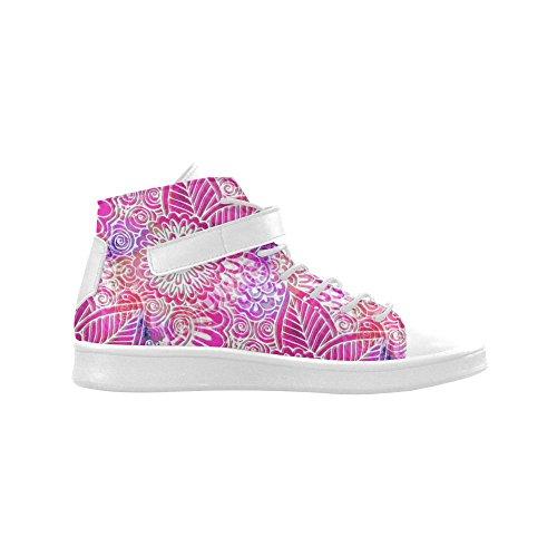 D-story Bout Rond Haut Haut Chaussures Rose Boho Fleurs Baskets Féminines