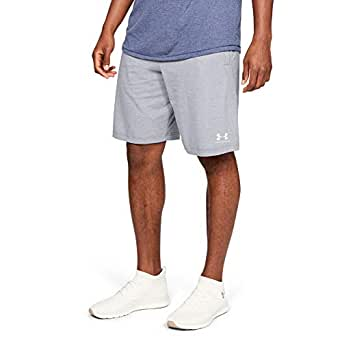 Under Armour Men's Sportstyle Cotton Shorts Grey (Steel Light Heather/Onyx White), Large