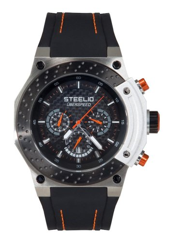 Steelio Men's Überspeed Retrograde Chronograph (Black-Orange)