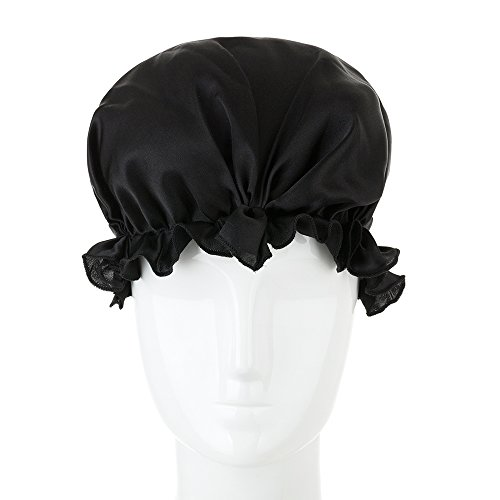 Black Costumes Bonnet (LULUSILK 100% Mulberry Silk Night Sleep Cap Adjustable Head Cover Bonnet with Ribbons Style for Women Hair Beauty(Black))