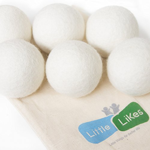 Wool Dryer Balls by Little Likes, 6 Pack XL 100% Pure Organic, Wool,Reusable, Extra Large. Reduces Drying Time and Chemical Free. Natural Fabric Softener