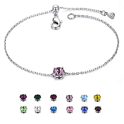 EGOO YAMEE Birthstone Bracelet White Gold Plated Crystal Adjustable Bangle 12 Color Gifts for Women