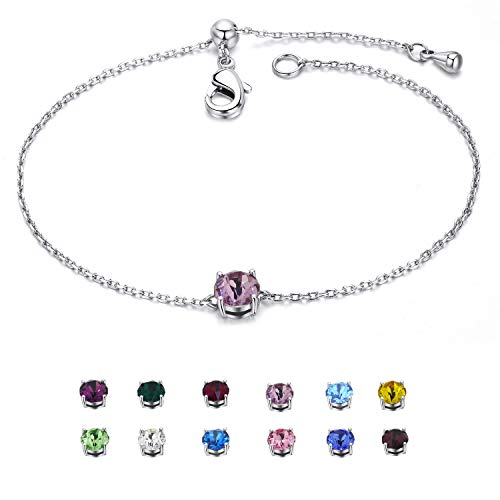 EGOO&YAMEE February Birthstone Bracelet Silver Copper White Gold Plated Cz Crystal Hearts & Arrows Adjustable Bangle (12 Color) Gifts for Women ()