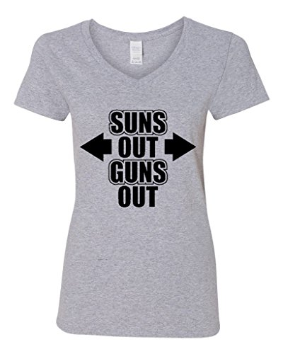 V-Neck Ladies Suns Out Guns Out Gym Workout Funny T-Shirt Tee (XX-Large, Sports Gray w/ Black)