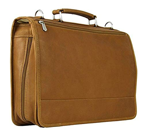 Piel Custom Personalized Leather Two-Section Expandable Laptop Portfolio in Saddle