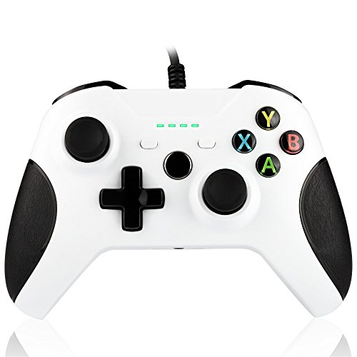 BestFire Streamlined Dual Vibration 1.8m Wired Controller Gamepad with 4 LED Indicators 3.5mm Audio Jack for XBox One…