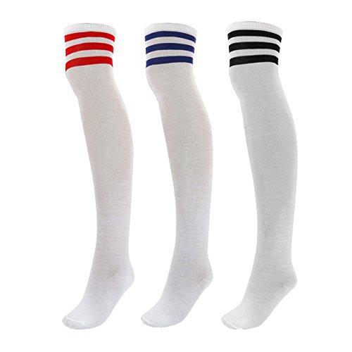 (CHIC DIARY Women Stripe Tube Dresses Over the Knee Thigh High Stockings Cosplay Socks (08-3pairs))
