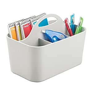 mDesign Office Supplies Desk Organizer Tote for Scissors, Pens, Pencils, Notepads - Small, Gray