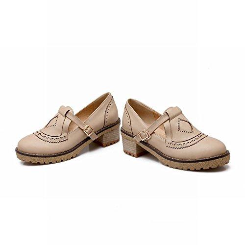 Latasa Dames Vintage Gesp Mid Chunky Hak Monnik Riem Schoenen, Instappers Loafers Schoenen Beige