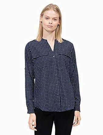 Calvin Klein Women's Printed Crew Neck Shirt, Lake Multi, XS