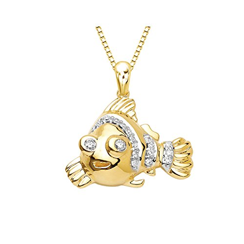 14k Yellow Gold Round Diamond Fish Pendant Necklace (1/10 cttw) 18