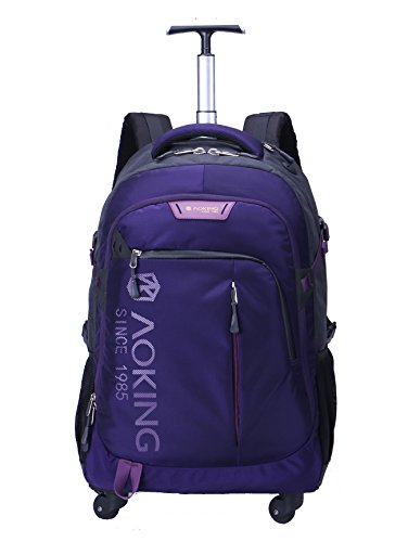 AOKING 20/22 Inch Water Resistant Travel School Business Rolling Wheeled Backpack with Laptop Compartment (Purple, 20 Inch)