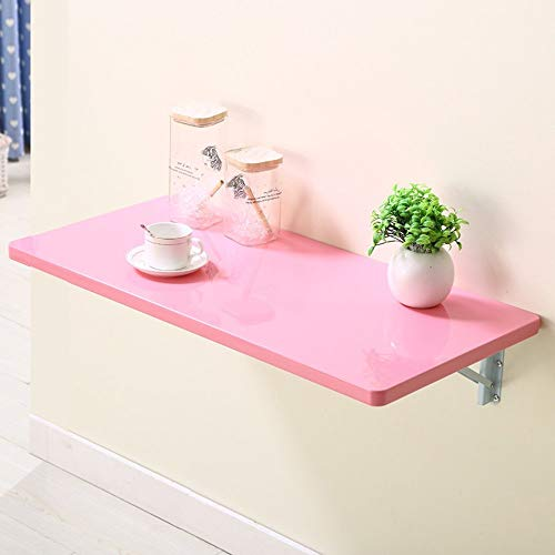 GWFVA Mesa Plegable Escritorio montado en la Pared Escritorio para portatil Incluso la Pared Junto a la Mesa de la Pared 4 Colores Disponibles Tamano Opcional (Color: Rosa, tamano: 60 * 35