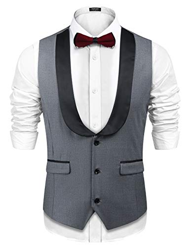 COOFANDY Men's Business Suit Vest,Slim Fit Skinny Double Breasted Wedding Waistcoat Button Down, Gray-4, -