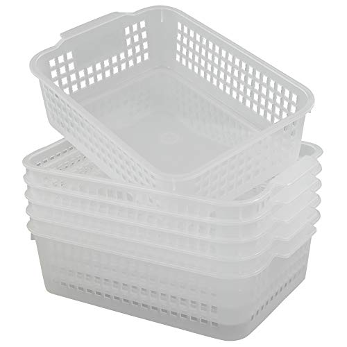 Qsbon Rectangular Plastic Storage Organization Trays Baskets in Clear, 6-Pack