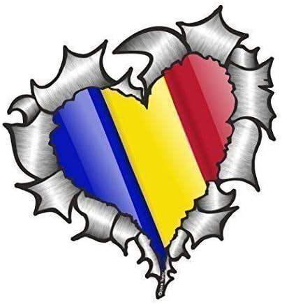 En Forma de Corazón Rasgado Metálico Rumanía Rumana Bandera para Equipo de Fútbol Soporte Match Pegatina Vinilo Coche 105x100mm