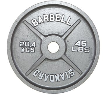 CAP Barbell OSG 390 pound Olympic Barbell Set - Olympic Bar and Cast Iron Olympic Plates - Old School Gray ''Standard'' Weight Lifting Set