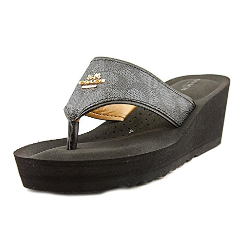Coach-Janice-Womens-Thong-Wedge-Leather-Sandals-Signature