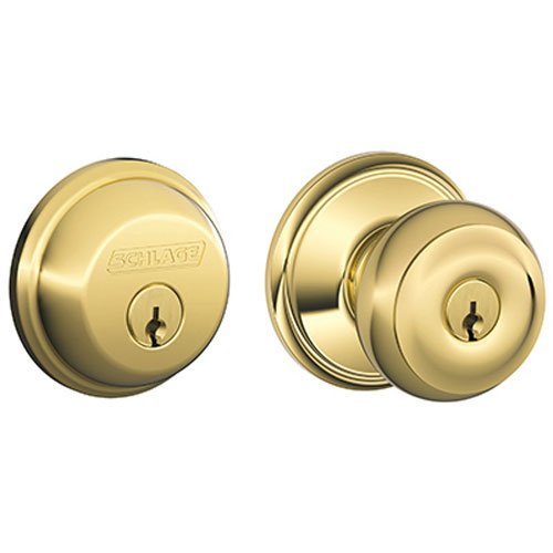 - Schlage FB50N V GEO 505 B60 Single Cylinder Deadbolt and F51 Keyed Entry Georgian Knob Keyed Alike, Bright Brass Finish