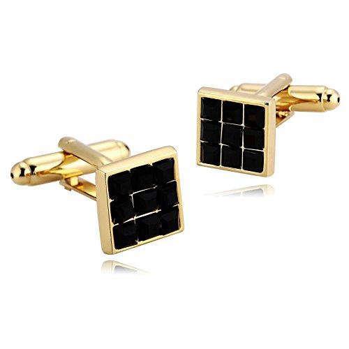 KnSam Stainless Steel Gold Black Classic Square Lattice Pattern Cufflinks for Mens Shirt - 10 Square Penn