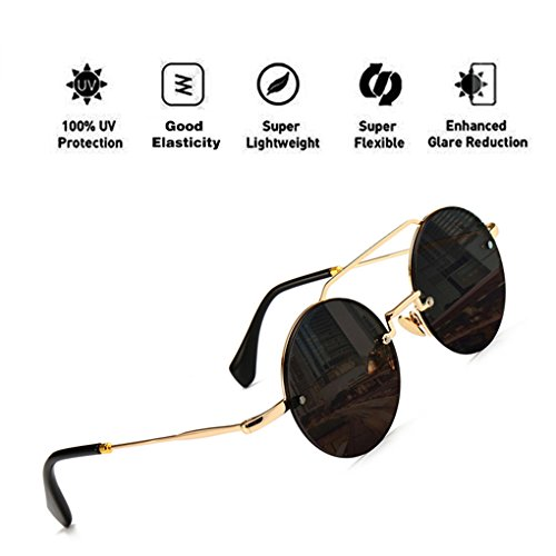 Lens Mujeres Sunglasses para con Fashion Protection Gris UV400 Eyewear HD PC Frame ATNKE Round Oversized Reflective Hombres Aviator qPnAfS