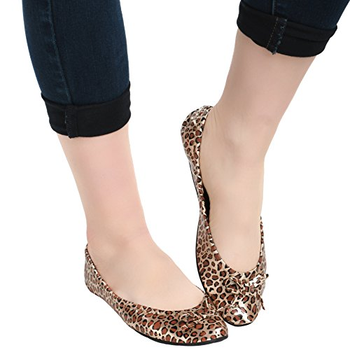 Flats Foldable Wear Women's Carrying Island Leopard Case Travel Clutch Ballet Shoes With q4IE4dcw7