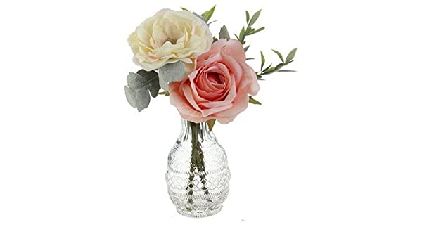 WITH LIGHTS IN WHITE OVAL VASE HANDMADE ARTIFICIAL MIXED PINK /& WHITE FLOWERS