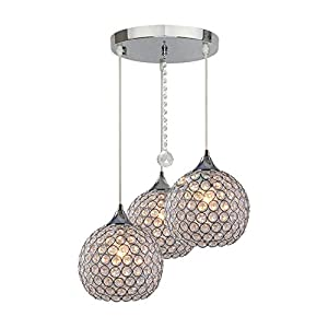 DINGGU 3 Lights Modern Crystal Ball Pendant Light Fixture Flush Mounted Ceiling Chandelier