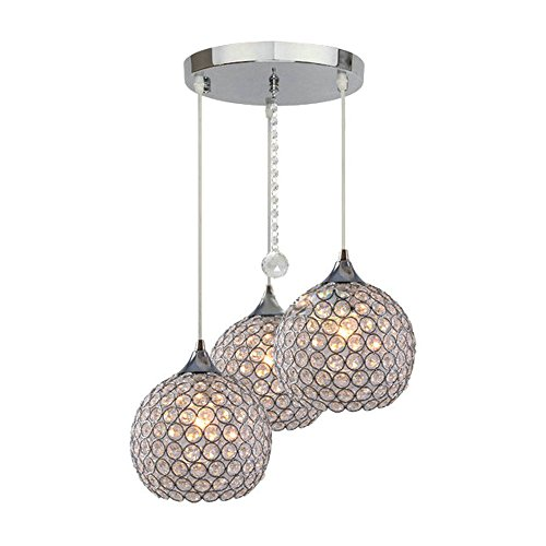 DINGGU 3 Lights Modern Crystal Ball Pendant Light Fixture Flush Mounted Ceiling Chandelier (Modern Lights Ball)