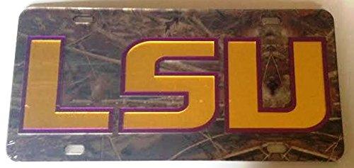 (LSU Tigers Camo Mirrored Car Tag - Gold Purple Louisiana State Camouflage License)