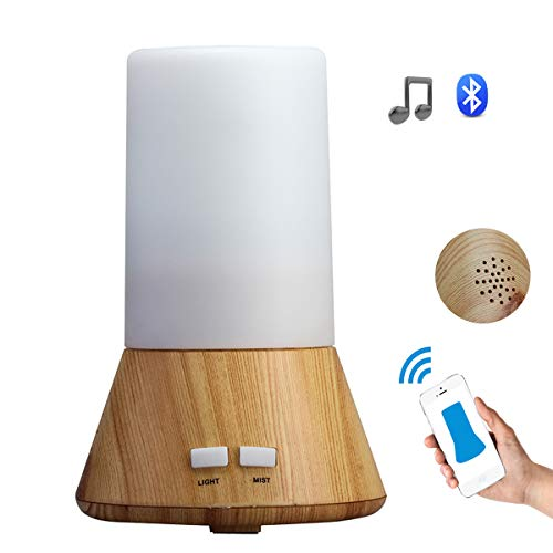 Kovoda Essential Oil Diffuser, Cool mist Ultrasonic Wood Grain Bluetooth Aromatherapy Humidifier with 7 Color Changing LED Lights, Waterless Auto Shut-off for Home Office Spa