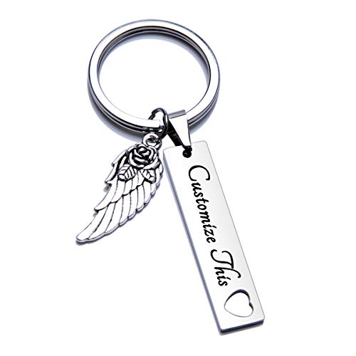 Fanery Sue Personalized Custom Rectangular Name Keychain Hollow Heart Angel Wing Key Tags Keyring Engraved Message ID Tag(Silver) (Angel Wings Keychain)