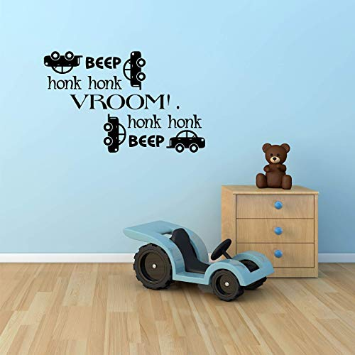 Beep Honk Vroom Kids Wall Decal - Wall Sticker ()